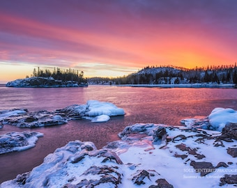 Great Lakes Photography, Sunset Colors, Lake Superior, Winter, North Shore Minnesota, Fine Art Print, Orange Pink Purple, Fire and Ice