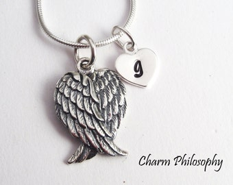 Angel Wings Necklace - 925 Sterling Silver - Folded Wings Pendant - Personalized Initial - Griever Necklace - Grief Jewelry