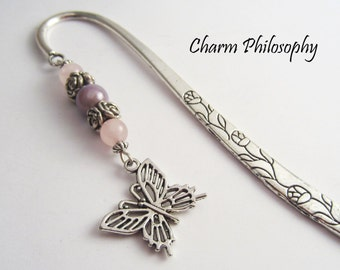 Butterfly Bookmark - Silver Butterfly Charm - Unique Beaded Bookmark - Gifts for Teachers