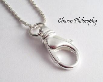 Lanyard 925 Sterling Silver Necklace - Badge Holder - Ring Holder Necklace