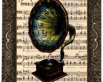 Phonograph antique sheet music book page upcycled dictionary fine art print vintage music book print colored Phonograph Art Print