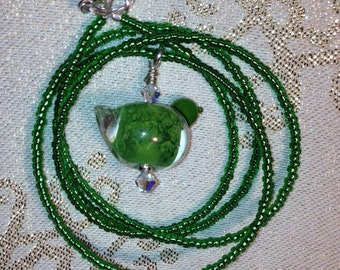Sparkly Green Bird Necklace