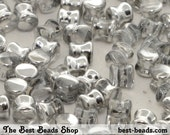 50pcs Clear with Half Metallic Coating Pellet Pressed Beads 6x4mm