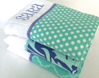 Personalized burp cloths, baby burp cloth, Amy Butler Love, Personalized baby gift,