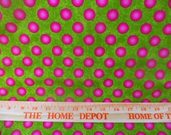 fabric, polka dot, lime green and pink,
