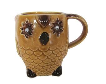 Vintage Owl Mug, 1970's Owl Cup, Ceramic Owl Mug, Googly Eye Owl, Woodland Owl, Mid Century, 1970's Decor