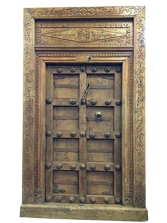 Rustic antique doors indian style decor jaipur by mogulgallery for Antique door decoration