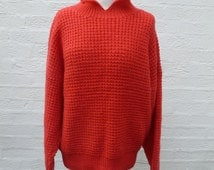 Red vintage sweater handmade knit jumper 1980s red clothing womens wool clothes vintage knit collar pullover Rustic red winter slouch jumper