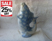 Vintage Soviet Porcelain Fish Carafe Made in USSR in 1980s.