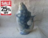 Vintage Soviet Porcelain Fish Carafe Made in USSR in 1980s.