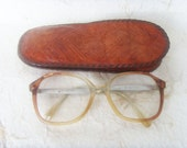 Vintage Soviet Handmade Leather Glasses Case and Glasses Made in USSR in 1970s