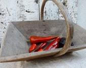 Old French garden trug vegetable basket gardening basket pannier grape pickers panier French country home
