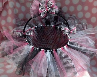 Pink Black White Zebra TUTU Easter Basket - use as a bow holder, catch all basket. Can be made in any color or pattern