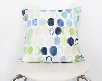 Dots in Indigo & Peach- Watercolor Throw Pillow