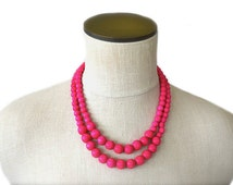 hot pink beaded necklace / hot pink jewelry / statement necklace / hot pink bridesmaid necklace / wood bead necklace / spring necklace