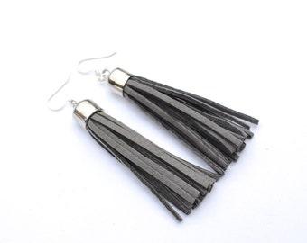 tassel earrings / gray tassel earrings / gray earrings / grey earrings / tribal earrings / fringe earrings / boho earrings