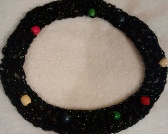 Black Crocheted & Multi-Colored Beaded Ponytail Wrap