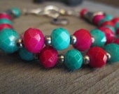 Pink, Turquoise,Silver Double Standed Beaded Bracelet with Peace Symbol Charm, Free Shipping