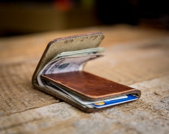 Minimal Front-Pocket Wallet - Horween Leather Wallet in Natural Dublin
