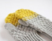 Hand knitted yellow grey mittens, Warm wool mittens, Thick winter mittens, Gradient mittens, Boho mttens, Grey yellow cabled mittens,