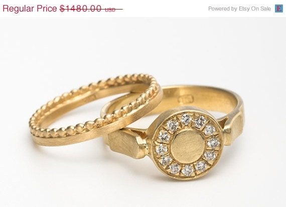 ON SALE Wedding rings set engagement ring for women by mbfjewelry