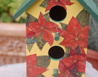 Hand Painted Decoupaged Bird House