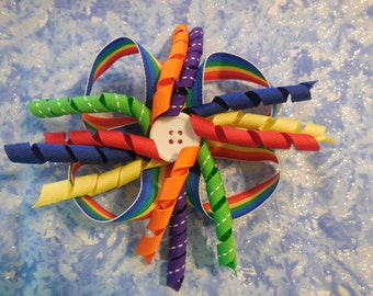 Rainbow Loop Bow with Button Center