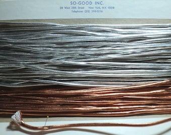 METALLIC CORDING, Silver Cord, Copper Cord, Findings, 5 Yard Cuts