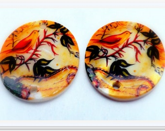 Oval Shell Connector Bird Pattern Charm Colorful Focal Bead- 30x25mm -2 pc.
