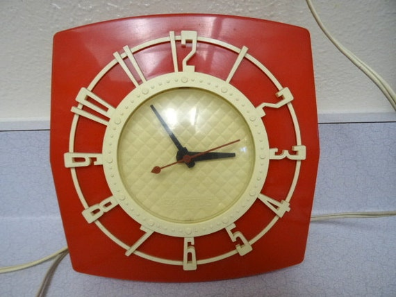 Vintage Red Kitchen Wall Clock