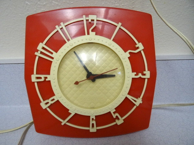 Vintage Red Kitchen Wall Clock