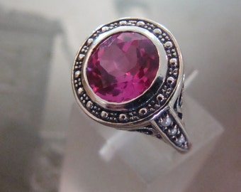 Pretty Sterling Pink Sapphire & Seed Pearl  Ring  Size 6 1/2