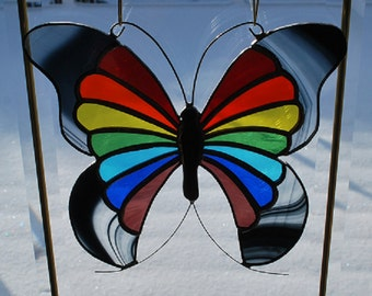 Stained glass rainbow wing butterfly suncatcher wall hanging