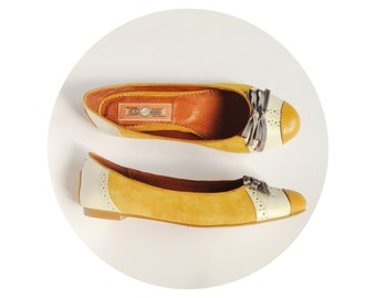 ON SALE - It was 69 - Mina Shoes - Leather Ballet Flats - Style: AUDREY - Genuine Leather