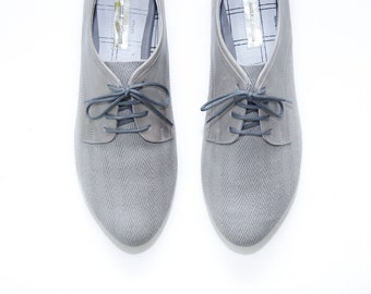 Light Gray Oxford Shoes - Leather and cotton canvas  - Women Brogues - Mina Shoes Mexico - LAST PAIR!
