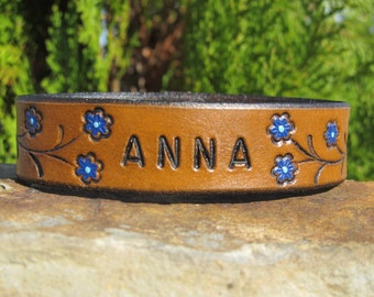 Hand Painted Tooled Leather Bracelet Cuff Flowers on Vine - girl women adult kids