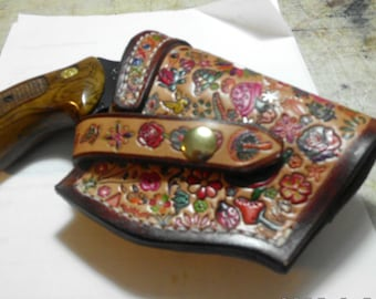 custom conceal carry leather  holster / hand painted