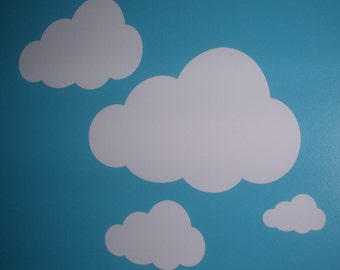 """White Clouds Decal Sticker Lot of 18 Wall Art Nursery Children's Room 3""""-12"""""""