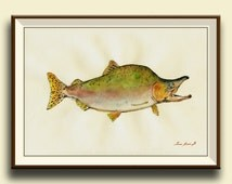 PRINT-Pink Salmon - fish watercolor painting print - game fishing decor art wall decal nursery-fly sport fishing - Art Print by Juan Bosco
