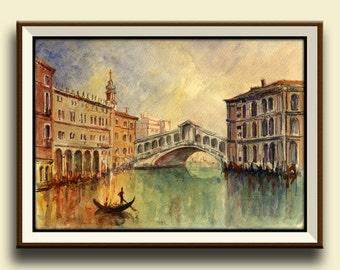PRINT-Venice Rialto Bridge -Gondolas Grand canal venice, Italy architecture cityscape -Art Print by Juan Bosco