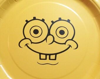 20 - Spongebob vinyl face's, plates NOT included, Spongebob party