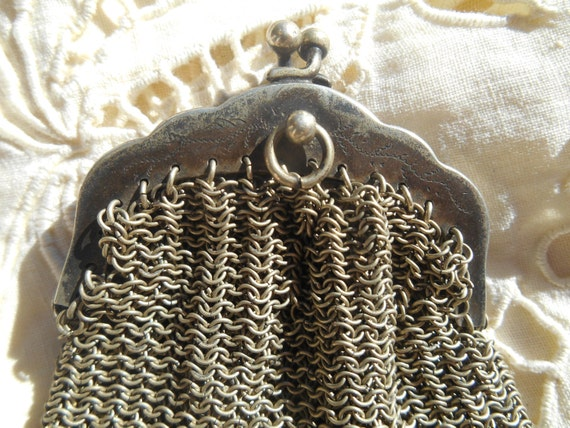 Victorian French Mesh Purse Antique 1920's Silver Chatelaine Change Purse Small Coins Clutch