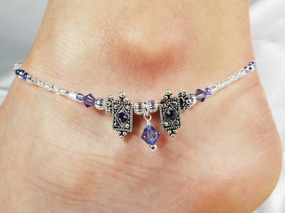 Anklet Ankle Bracelet Dangle Tanzanite Purple Swarovski. Ankle Bracelets Stores. Unique Wedding Bands. Fancy Sapphire. Pink Wedding Rings. Peridot Bracelet. Gmt Watches. Modern Wedding Rings. Millefiori Pendant