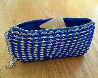 Handmade Soda Pop Pull Tab Electric Blue Crochet Clutch Purse Bag with Wristlet Chain - Soda Tab Purse, Zipper Felt Clutch