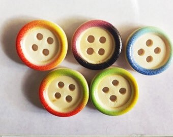 """Round colored buttons 10 wood round buttons 15mm( 5/8"""")  wood button tie dye buttons"""