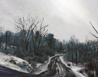 "Original Oil Landscape Painting, Snow and Salt, Oil on 12x16"" canvas panel, by Sean Bodley"