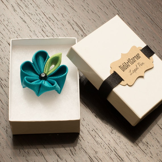 Stylish Beautiful Black Flower Lapel Pin: Lapel Pin Teal Kanzashi Flower Lapel Pin With Black Crystal