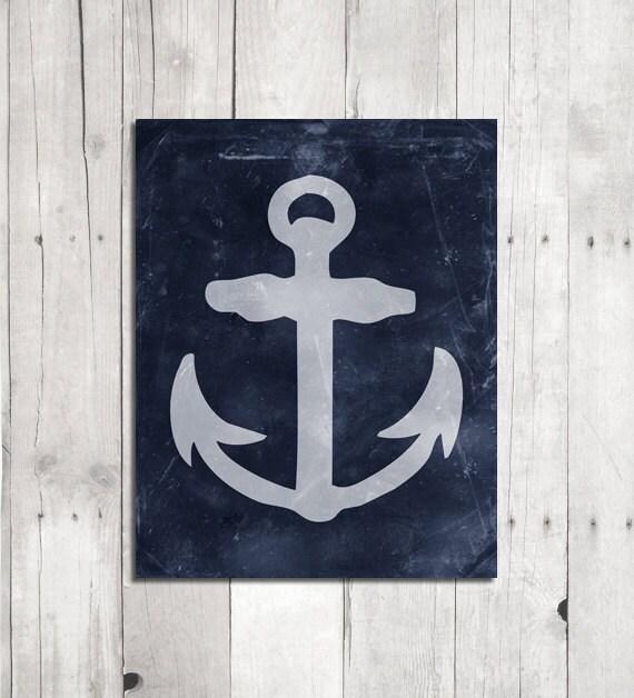 Blue Anchor Wall Decor : Blue anchor wall art nautical decor marine home by