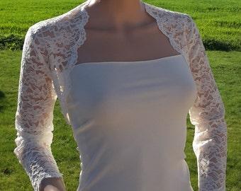 Womens Corded 3/4 sleeve lace  bolero/Shrug/Jacket in Ivory. sizes UK 8 to 18