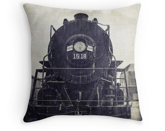 Vintage Steam Train 1518 Photo Pillow Cover, Locomotive, Man Cave Art Pillow, Railfan, Manly Black and White, Industrial Chic, Fathers Day